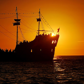 Sailing into the Sun by Alison MacDonald - Transportation Boats ( ocean, waterscape, florida, sunset, ship )