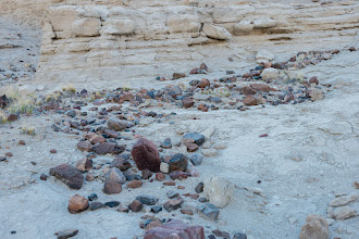 Photo: Rocks left behind by erosion; Plaza Blanca, Abiquiu, New Mexico