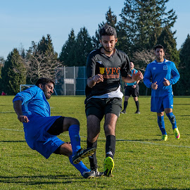 Midfield Trip by Garry Dosa - Sports & Fitness Soccer/Association football ( running, ball, soccer, falling, sports, outdoors, action, males, people, movement, sport, tripped )