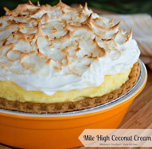 "Click Here for Recipe: Mile High Coconut Cream Pie ""This coconut cream..."