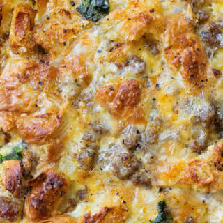 Overnight Sausage, Egg and Croissant Breakfast Bake.