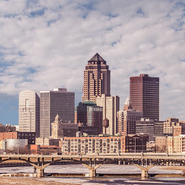Downtown Des Moines, IA by Tammy Hatfield - City,  Street & Park  Skylines ( water, clouds, riverside, cityscape, downtown, city )