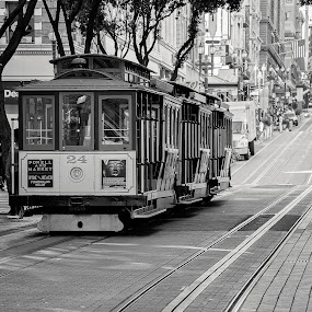 Iconic San Francisco Cable Cars by Eddie Yerkish - Black & White Street & Candid ( famous, b&w, black and white, california, cable, street, francisco, travel, landscape, historic, urban, san, iconic, cars, outdoors, district, travel photography )
