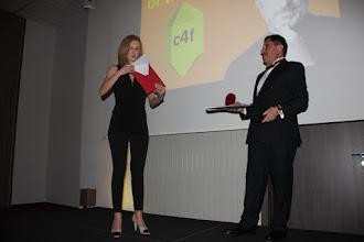 "Photo: Anna Lukanina and Maxim Behar - announcing winner of ""Image of the Future"""
