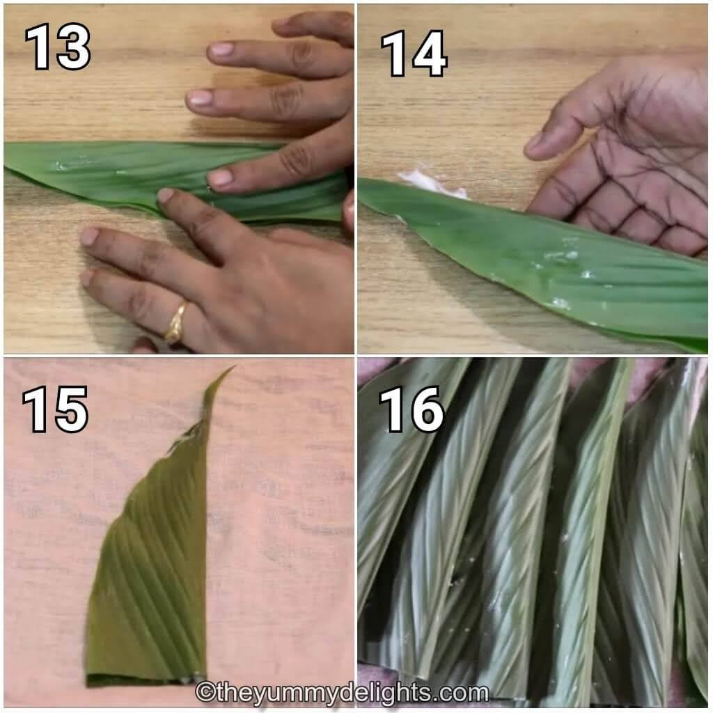 step by step image collage of folding the patoli.