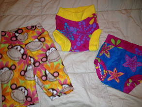Photo: Girly Monkey Capris and Girls Soakers Made by me Lft Monkey Pair are Capris that are super cute $4. The right two are FFS with another purchase- they are more like THIRDS than seconds. It was when I was learning soakers on my first seger ane they are functional but not pretty!