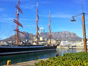Photo: Sedov with Table Mountain as a backdrop