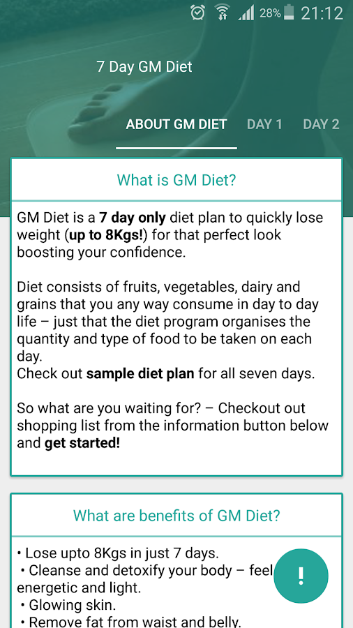 Gm Diet Weight Loss 7 Days Screenshot