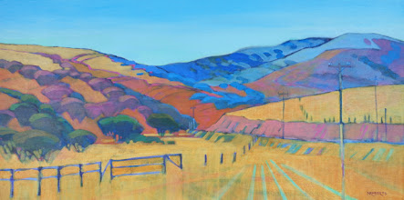 """Photo: Old Vasco Road, acrylic on canvas 12"""" x 24"""" by Nancy Roberts, copyright 2014. Private collection."""