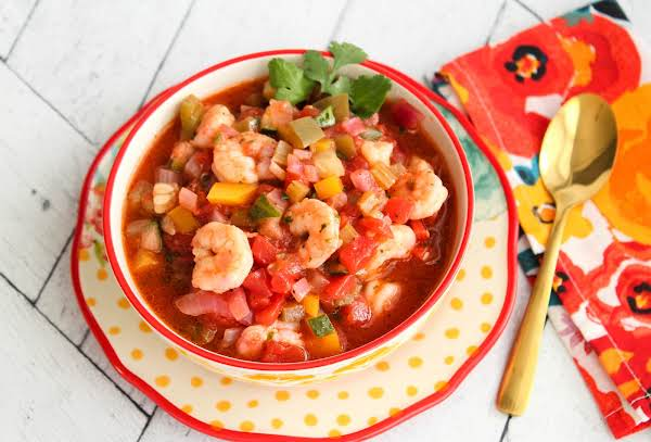 A Bowl Of Chunky Shrimp Gazpacho.
