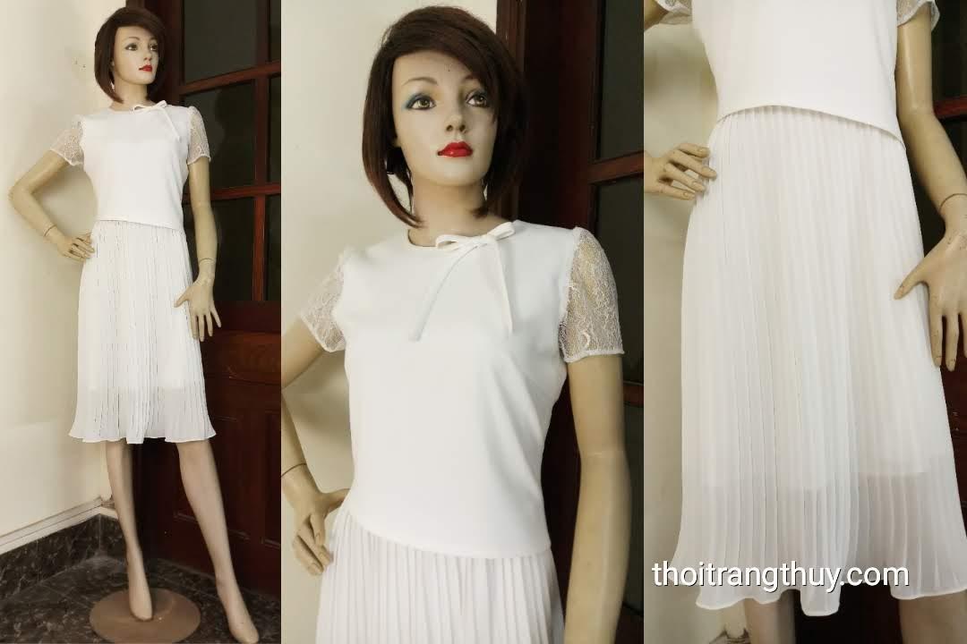 Váy xòe công sở dạo phố phối vải dập ly V598 Thời Trang Thủy