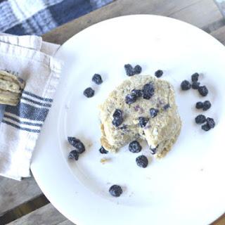 Fluffy Blueberry Oatmeal Pancakes.