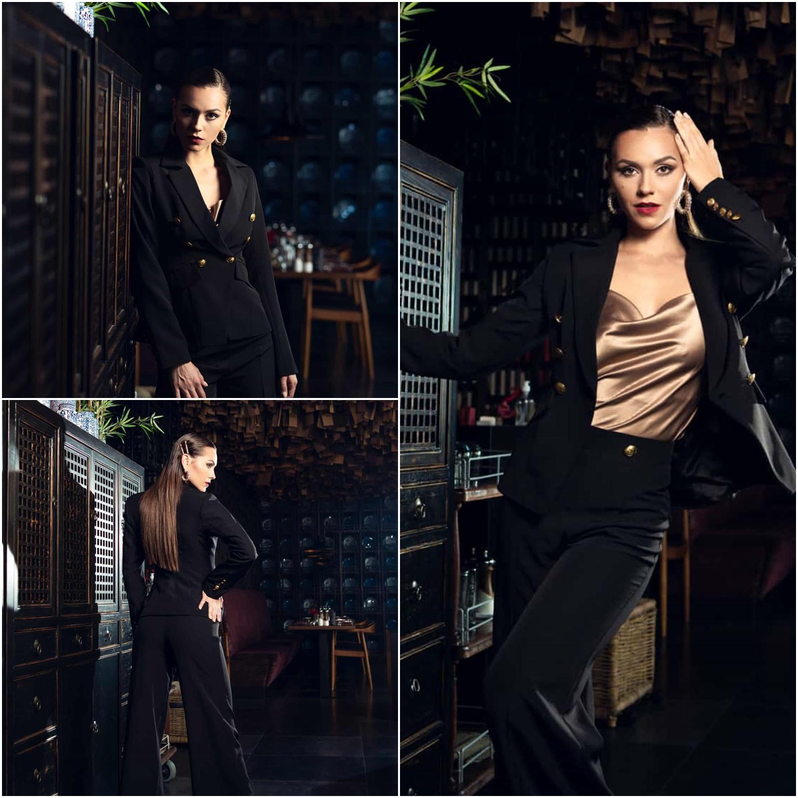 Изискана комбинация между черно и тофифи за акцент. Златните копчета на сакото и панталона допълват визията.
