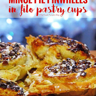 Mince Pie Pinwheels in Filo Pastry Cups