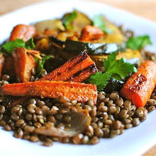 Indian-Spiced Roasted Vegetables Over Lentils.