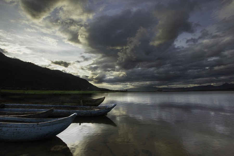 Boat in The Kerinci Lake by Giambatista Ascary ML - Landscapes Waterscapes