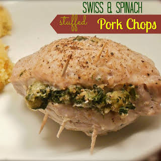 Swiss & Spinach Stuffed Pork Chops.
