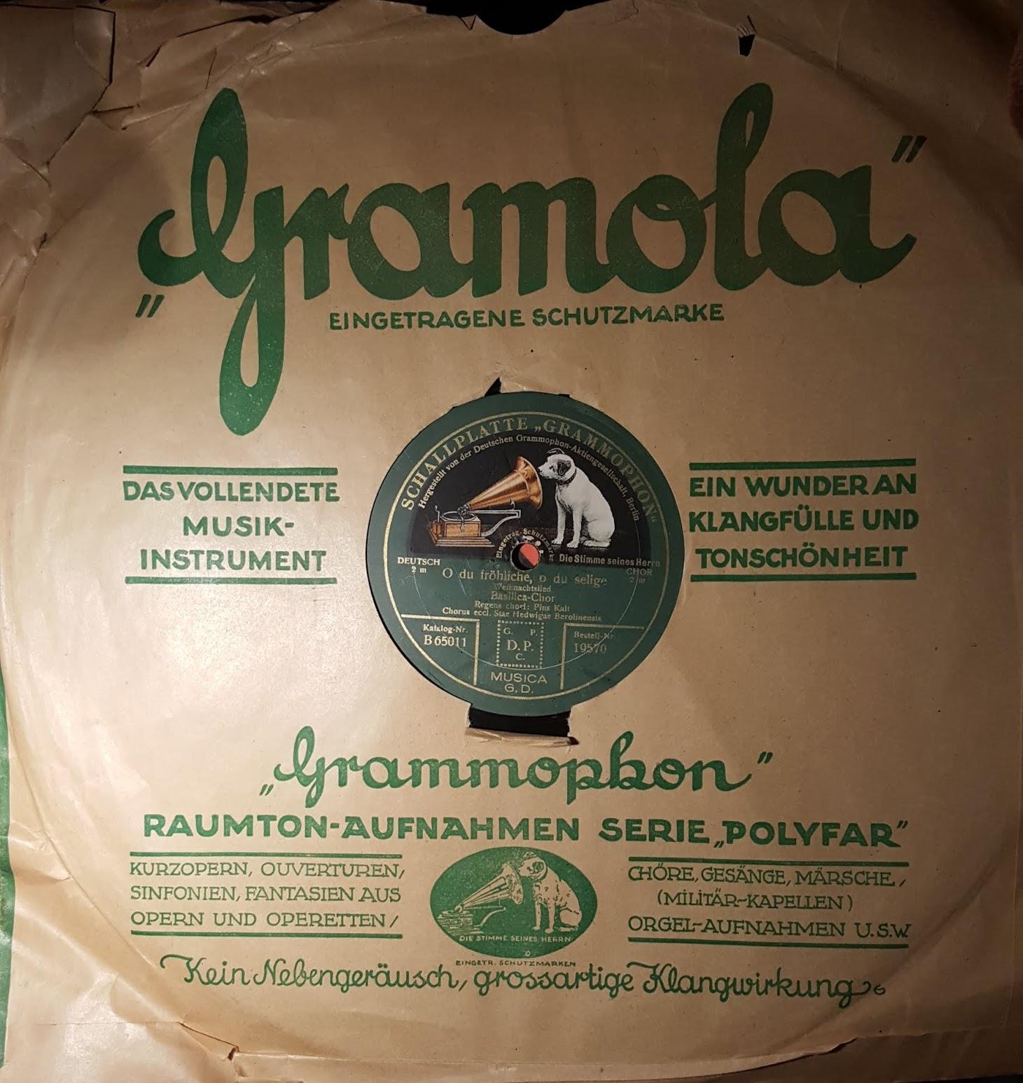 Polyfar Grammophon-Platte Gramola, Weihnachtsmusik, O du fröhliche, o du selige