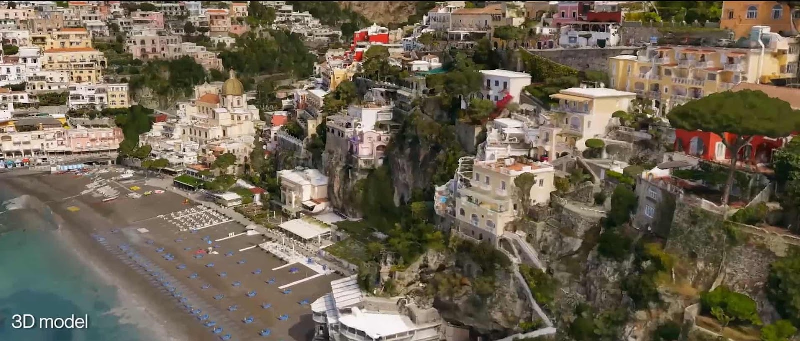 A 3D model of Positano, Italy created using the Parrot ANAFI Ai