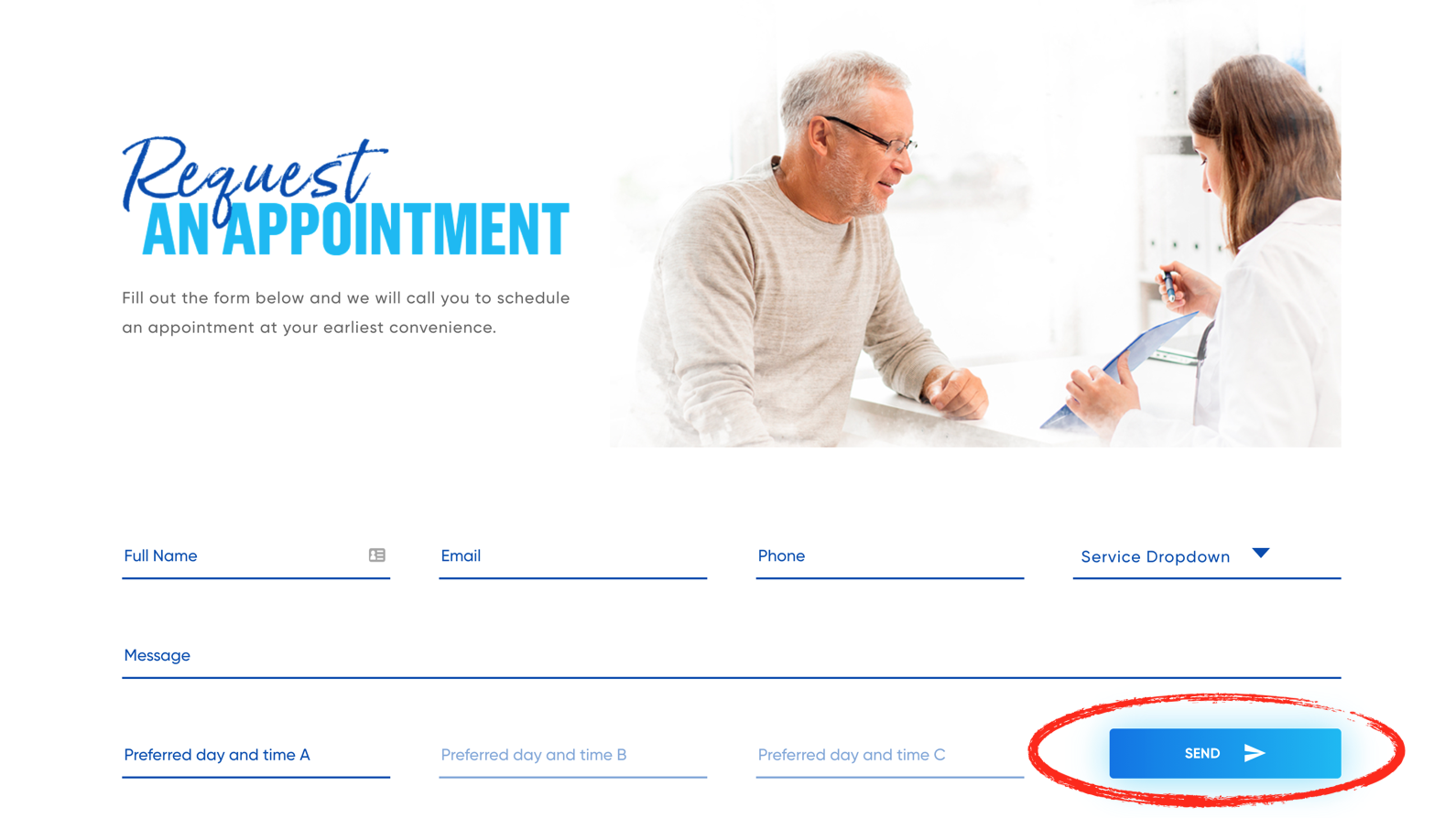 Request an Appointment Example Page
