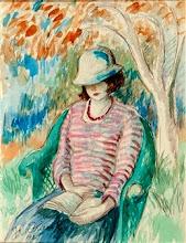"Photo: Frederick Carl Frieseke, ""Leggendo in giardino"" (1921)"