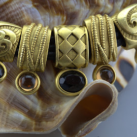 Gold & Leather by Cal Brown - Artistic Objects Jewelry ( jewelry, artistic object, gold, stones, leather, necklace,  )