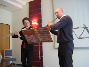 Photo: Julia and another flutist played duets for us, spanning Renaissance through Baroque to Classical.