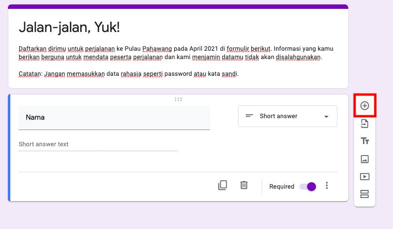 cara membuat google form pertanyaan baru