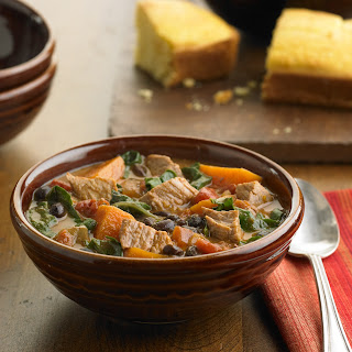 Pork, Sweet Potato And Black Bean Stew with Fresh Greens.