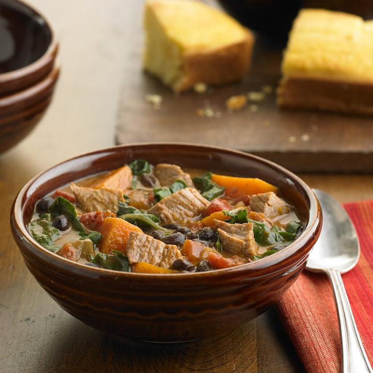 Pork, Sweet Potato and Black Bean Stew with Fresh Greens Recipe