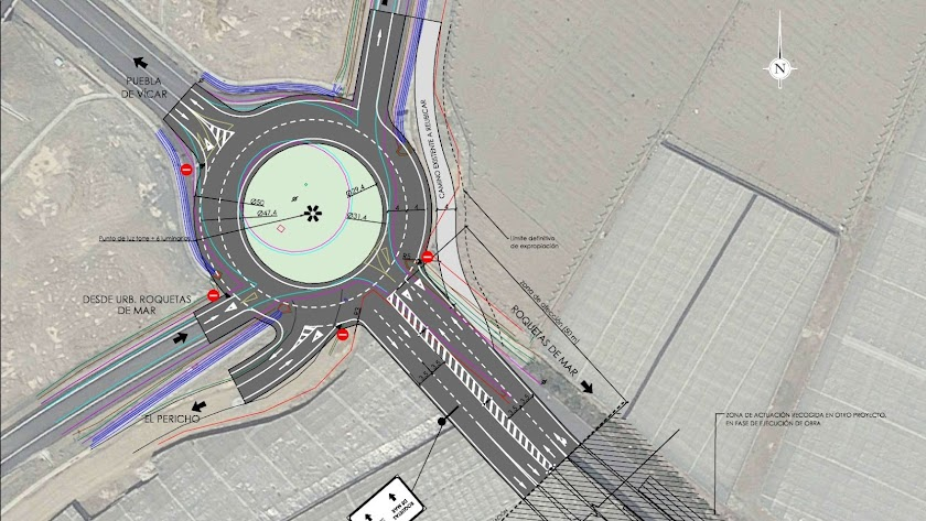 Propuesta de la ampliación de la glorieta sur del enlace de acceso a Roquetas.