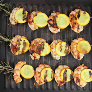 Lemon Rosemary Zucchini Shrimp Kabobs with Zucchini