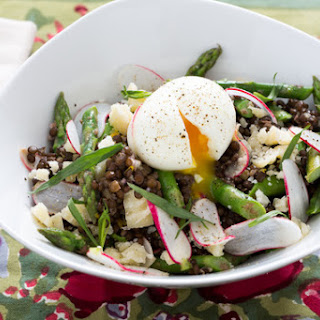 Beluga Lentil & Asparagus Salad with Soft-Boiled Eggs, French Breakfast Radishes & Piave Cheese