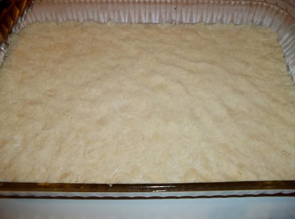 Spread evenly over the bottom of the prepared pan and press with hands to...