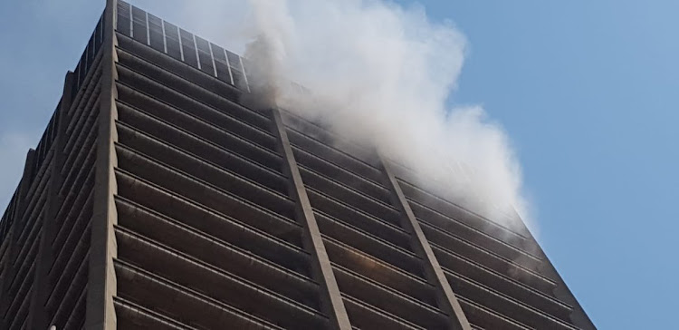 The building housing the offices of the Gauteng Health and Human Settlements in Johannesburg caught fire on September 5, 2018.