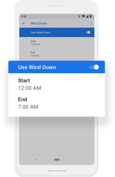 A Google phone screen that shows Wind Down mode getting turned on to work from 12:00am to 7:00am.