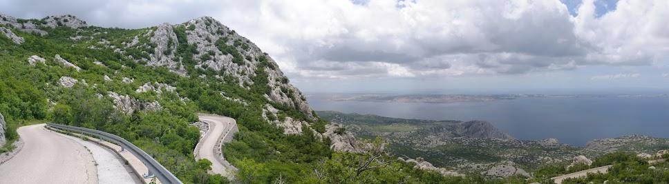 Blick vom Velebit auf die Insel Pag