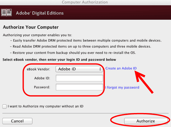 Open Adobe Digital Editions and input Adobe ID