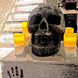 Skull on Stone by Edward Gold - Digital Art Things ( digital photography, orange candles, hand print, tan colors, textured, skull on a stone, staircase, digital art,  )