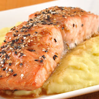 Glazed Sesame Salmon and Wasabi Mashed Potatoes.