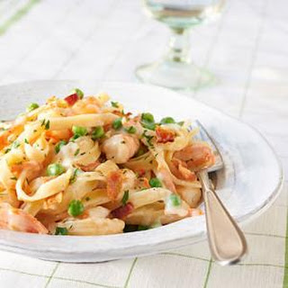 Creamy Fettuccine with Shrimp and Bacon.