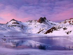 Photo: A gorgeous sunrise over snowy Ice Lakes Basin, November.