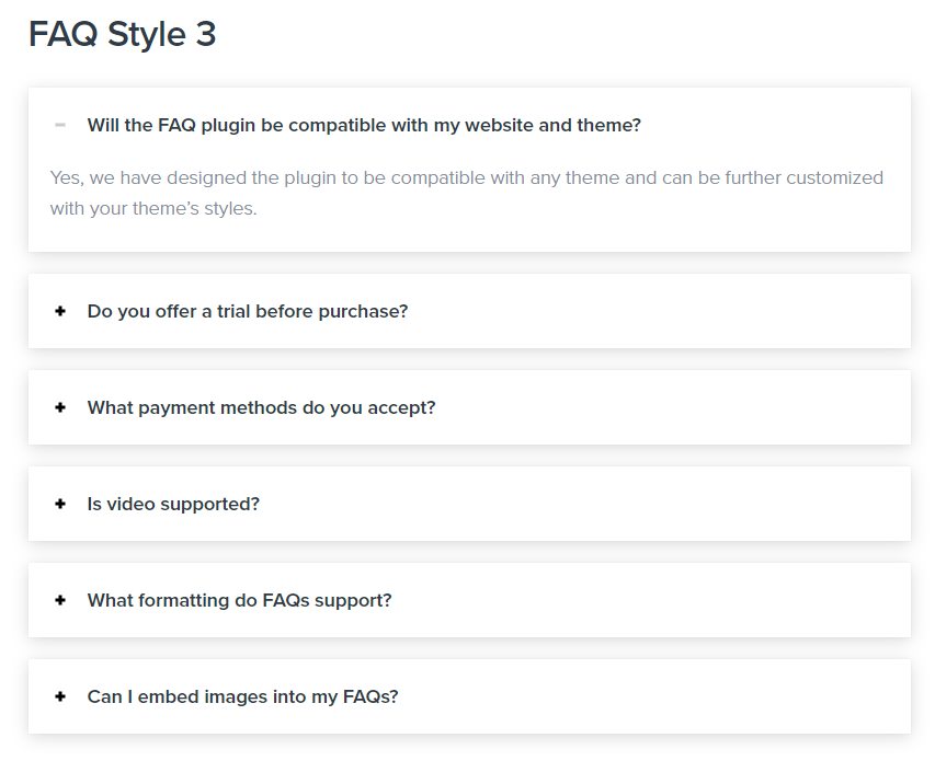 The Heroic FAQs front-end view