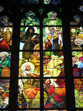 Photo: Detail of Mucha's stained glass window showing Cyril the monk and Methodius the bishop.