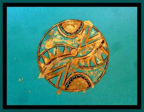 Photo: 011 oil-based ink, gold-leaf original matted Available @ OSEREDOK Boutique, Winnipeg