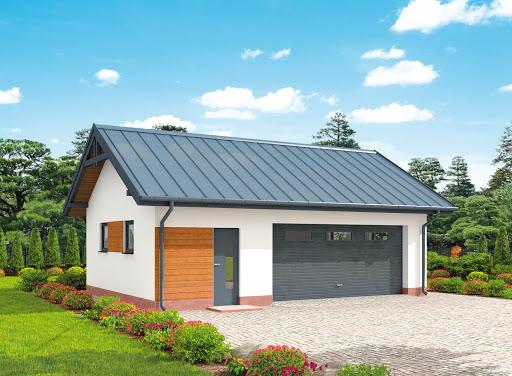 projekt G292 szkielet drewniany garaż dwustanowiskowy z pomieszczeniem gospodarczym