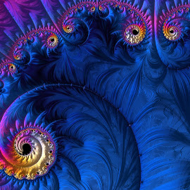 Blue fractal  by Capucino Julio - Illustration Abstract & Patterns ( freactal, blue, art, resembles, digital, floral )