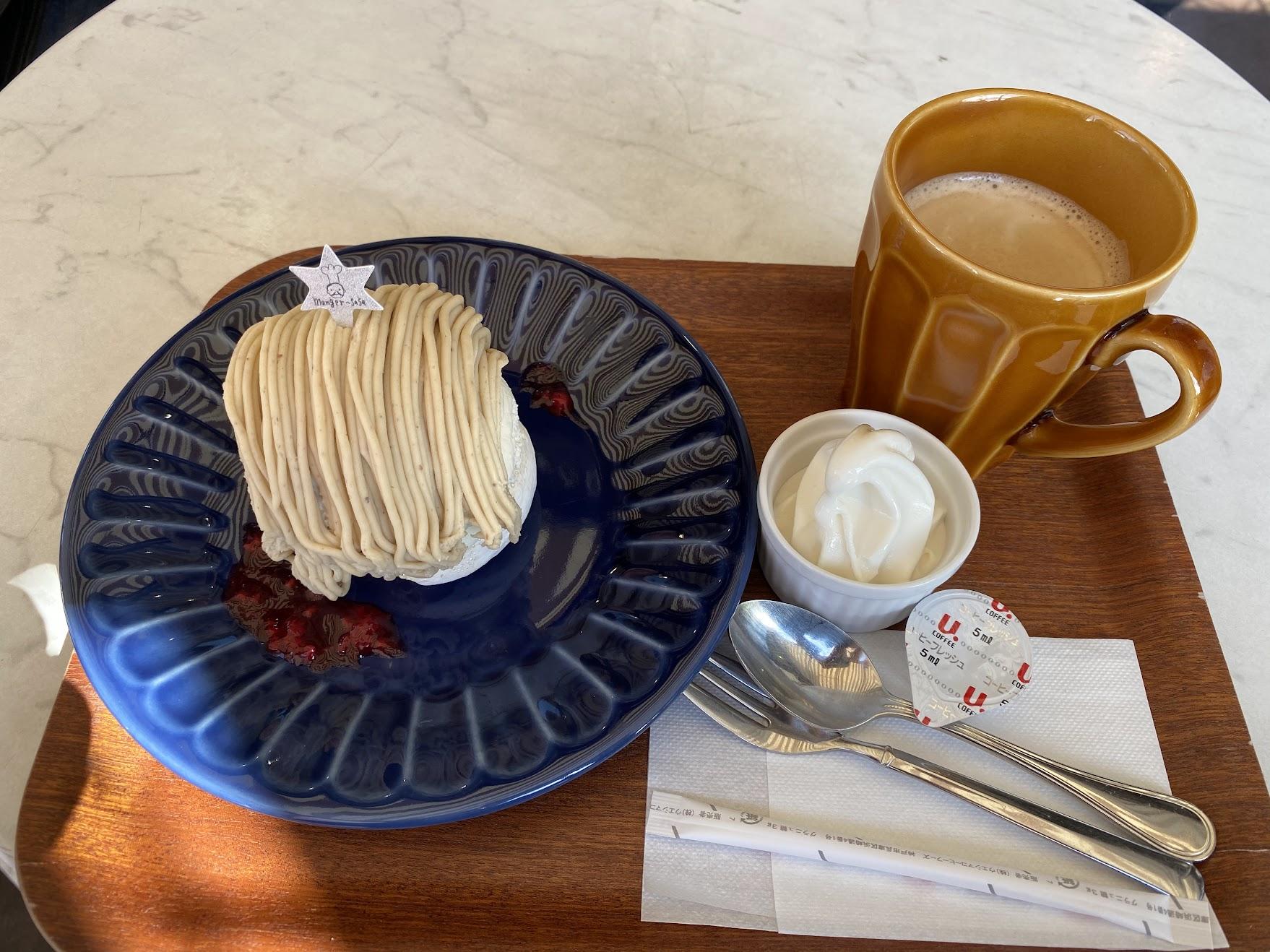 モンブランとホットコーヒー