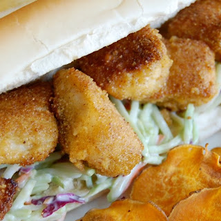 Catfish Po'boys with Broccoli Slaw.