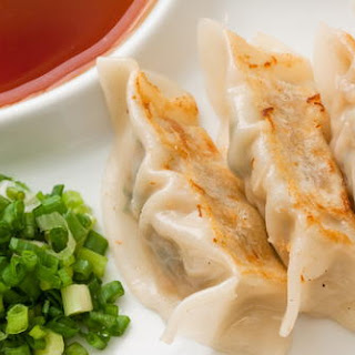 Pot Sticker Dumplings with Ginger-Soy Dipping Sauce.